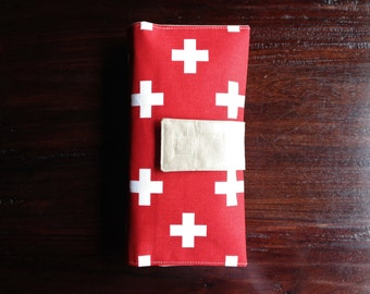 Diaper Clutch, Nappy Wallet, Red and White Swiss Cross, Personalized, Monogram, Baby Shower Gift, Custom Baby Gift