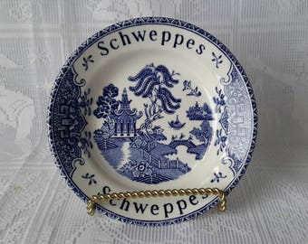 Wedgwood Schweppes Blue Willow Tip Tray, Made in England