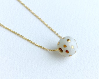 gold dots on small white bead // porcelain necklace