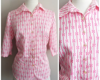 White Blouse with Pink Stripes and Flowers // Vintage Pink and White Blouse
