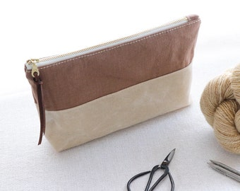 linen and waxed canvas pouch