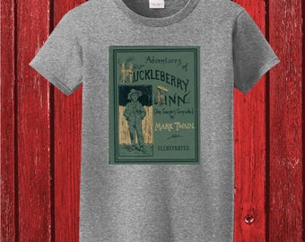 Adventures of Huckleberry Finn (Tom Sawyer's Comrade) By Mark Twain First EditionClassic Book Cover on 100% Cotton Tee Shirt