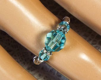 "Cynthia Lynn ""CELEBRATE"" Swarovski Crystal Aquamarine Blue March Birthstone Silver Stretch Ring"