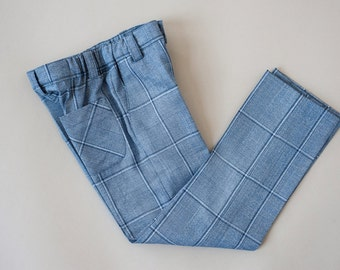 Light blue squared boys suit trousers