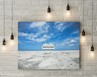 Still Life Photo, Relaxing Photo, Big Sky, Large Wall Art, Blue Sky Photo, Gift For Mentor, Bench Photo, Vacation Photos, Zen Photography