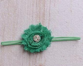 Saint Patricks Day Headband, Kelly Green Headband, Emerald Shabby Chic Headband, Baby Headbands, Emerald Headbands, Newborn Headbands