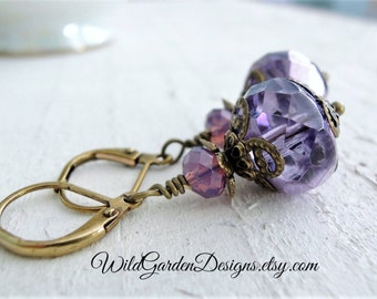 Lilacs in Bloom Earrings Purple Glass Dangle Earrings Lavender Earrings Antiqued Brass Earrings Lilac Wedding Jewelry Pastel Purple Earrings