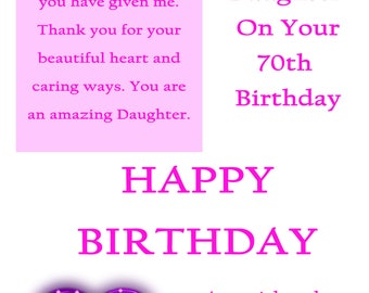 Daughter 70 Birthday Card with removable laminate