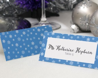 FULL SERVICE Escort Cards Wedding Party Winter Christmas New Years Snowflake Ice- Blue