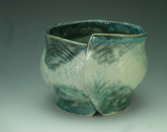 Rice Bowl, blue green and turquoise