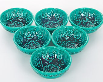 "Handmade Turkish Ottoman Ceramic Green 6 Pieces Nut Bowls 3"" Diameters"