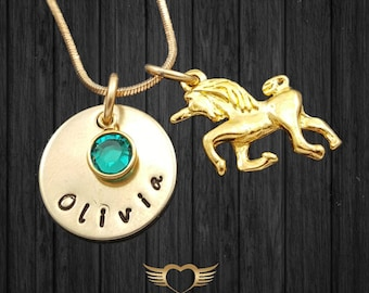 Unicorn Necklace with name plate & birthstone, Daughter necklace, sister necklace. little girl necklace, grand daughter necklace, Christmas