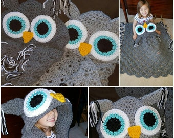 Crocheted Hooded Owl Blanket, Child Hooded Owl Blanket, Adult Hooded Owl Blanket, chunky throw