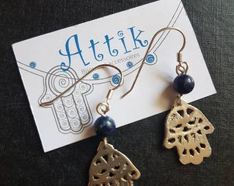 Earrings hand of Fatima in silver and Lapis gemstones
