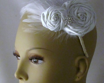 Bridal fascinator, white satin rosette hair accessory, white roses with feather bridal headband - Vervonica