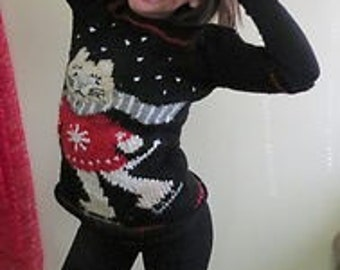 Vintage Hand knit Kids  Tacky Ugly Christmas Sweater Famous Skating Cat Hand Knit Mini Dress Medium-Large or Womens XS