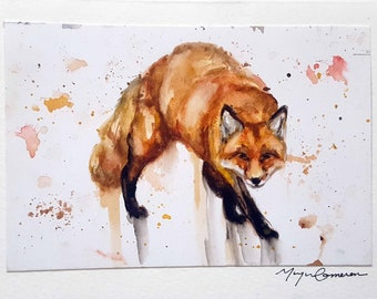 Fox Card, Fox, Fox Art, Watercolor Fox, Blank Greeting Card, Animal Art, Watercolor, Handmade Card, Hand painted, framable card
