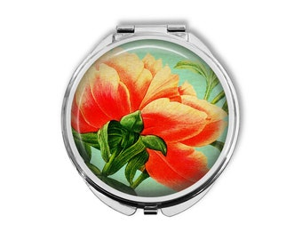 Underside of Peony Compact Mirror Pocket Mirror Large Gifts for her