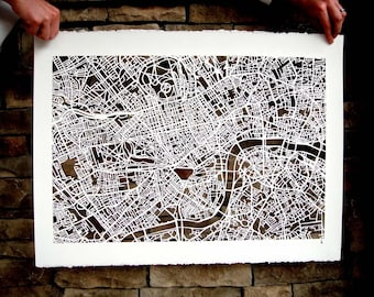 london hand cut map, 22x30