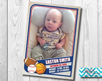 Sports Trading Card Baby Announcement