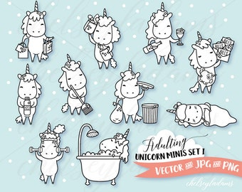 Unicorn Digital Stamps Set, Planner Digi Stamps, Chibi Vector Graphics, Cute DIY Planner Stickers, Commercial Use Sticker Clipart, Kawaii