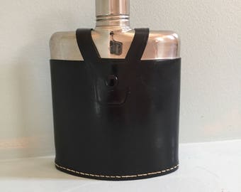 Vintage Silver Flask with Leather Case - Made in Western Germany