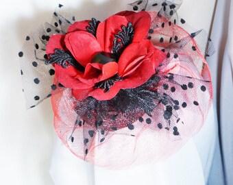 Red Velvet Flower Black Polka Dot Fascinator