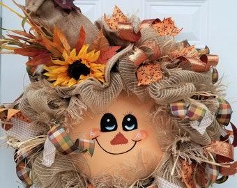 Fall Door Wreath - Fall Wreath -  Fall Door Decor - Autumn Wreath - Autumn Door Wreath - Scarecrow - Gift Idea New Home - Ready to Ship