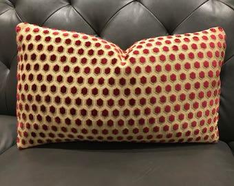 "Lumbar Pillow in GP & J Baker ""Milton"" Cranberry Small Scale Cut Velvet"