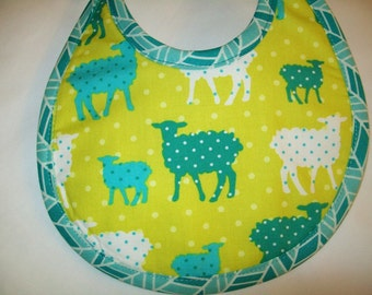 Organic Baby Bib - Sheep - Modern Whimsy - Birds - Lime - Turquoise - Can be Personalized with a Name