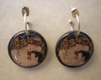 Gustav Klimt earrings / The mother earrings / Klimt earrings / Resin earrings / Klimt art earrings / Gustav Klimt