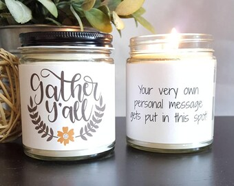 Gather Y'all Soy Candle, Scented Soy Candle Gift, Candle Gift, Personalized Candle, Halloween Candle, Girlfriend Gift, Fall Candle Gift