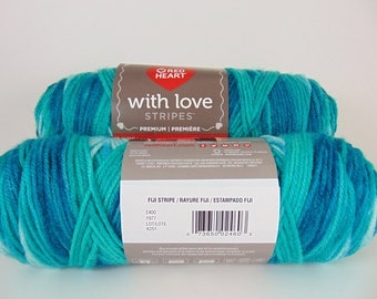 Fiji Stripe - Red Heart with love Stripes  yarn . 100% acrylic worsted weight - 2106
