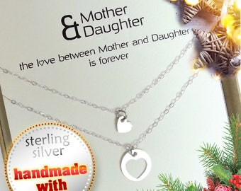 Christmas gift for mom. Mother daughter necklace set. Mothers day gift .Mom Daughter. Moms Birthday