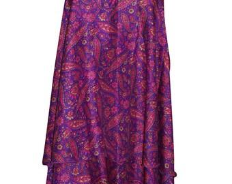 Pink Reversible Printed Silk Wrap Skirt Dress Multi Wear Two Layer Summer Beach Bikini Cover Up Halter Dress