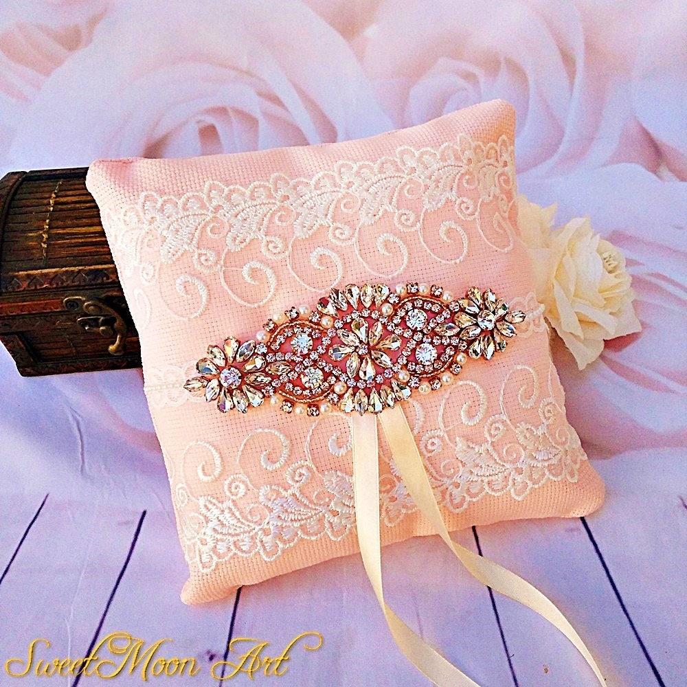 Wedding ring pillow ring bearer pillow salmon pink ring