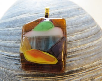 0142 - Multi-colored Abstract Fused Glass Pendant