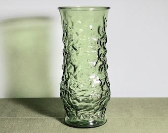 Vintage Olive Green E. O. Brody Co Crinkle Glass Vase 110 Cleveland Ohio