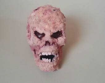 Death skull bloody Zombie horror Halloween macabre OOAK bite meat bone papier spooky decoration deco