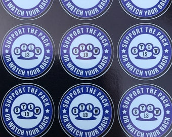 Knuckle Duster Sticker 30mm Vinyl Support The Pack Or Watch Your Back White Wolf Brotherhood Motorcycle Club Supporter Decal Biker Support