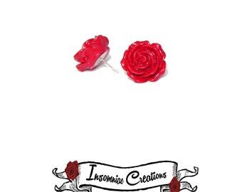 Large Rose Earrings - Vintage, Rockabilly, Pinup posts
