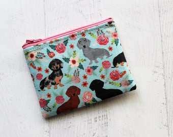Dachshund zipper pouch - gift for dog mom - pet gift ideas - doxie print bag - doxie zippered pouch - cute floral bag - doxie lovers gift