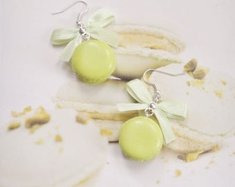 earrings pistachio macarons polymer clay