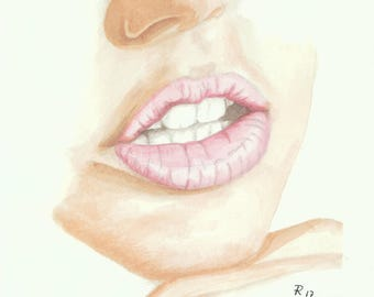 Lips III, Original drawing on paper, One of a kind, Sketch 7.8 * 7.8 in