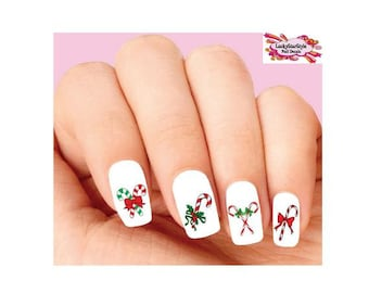 Waterslide Nail Decals Set of 20 -  Christmas Holiday Candy Cane Assorted