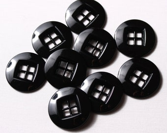 6 buttons 34mm, black round 4 holes metal square (7055)