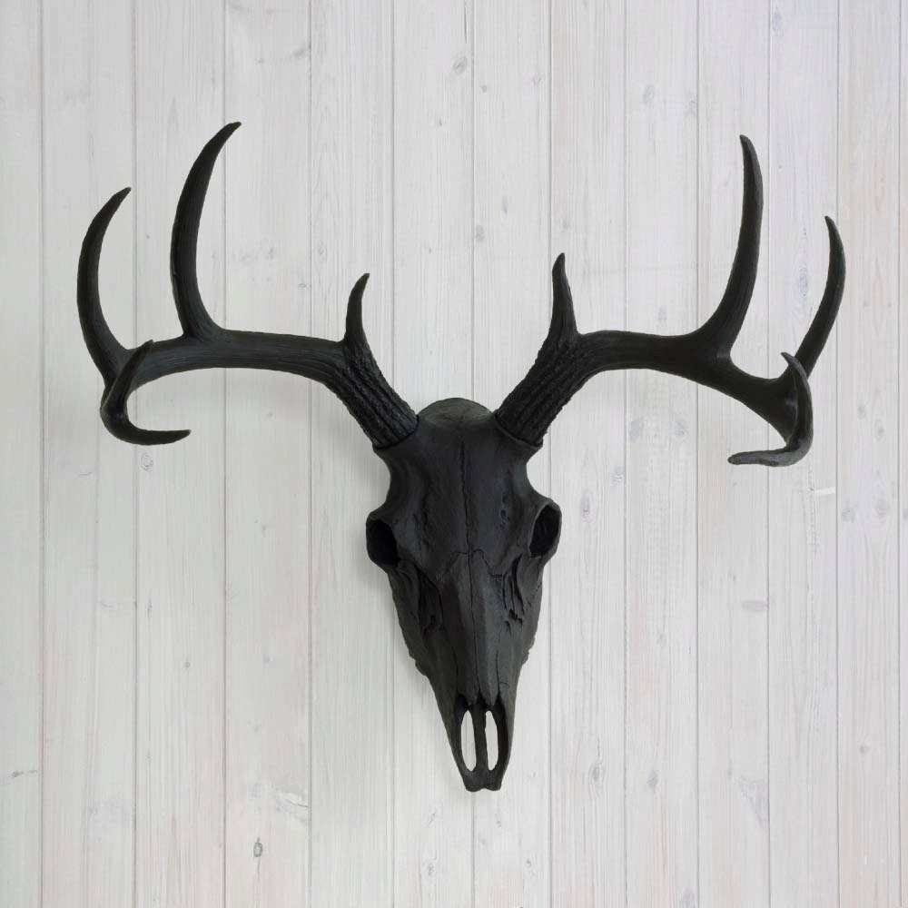 Deer skull black faux animal head by wall charmers fake zoom amipublicfo Image collections