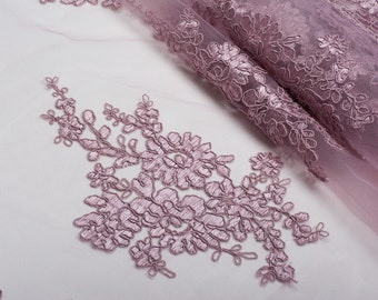Dusty pink Wedding lace, fabric lace, cord lace Voile, 51 width, Alencon for sewing, buy yard, Voile decor-1 / yard