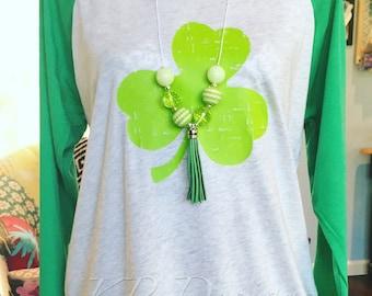 St Patrick's Day Green Distressed Shamrock Raglan