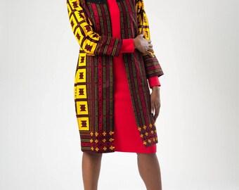 Abefe African Print Long Blazer